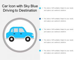 Car Icon With Sky Blue Driving To Destination