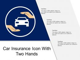 Car Insurance Icon With Two Hands