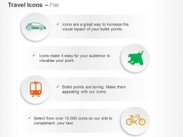Car Plane Train Cycle Travel Ppt Icons Graphics