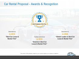 Car Rental Proposal Awards And Recognition Ppt Powerpoint Presentation Structure