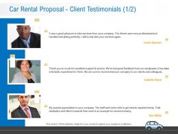 Car Rental Proposal Client Testimonials L12238 Ppt Powerpoint Presentation Microsoft
