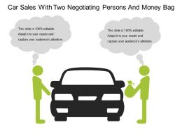 Car Sales With Two Negotiating Persons And Money Bag