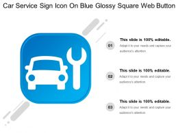 Car Service Sign Icon On Blue Glossy Square Web Button