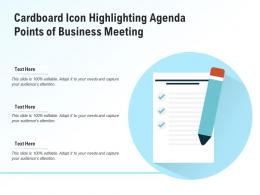 Cardboard Icon Highlighting Agenda Points Of Business Meeting