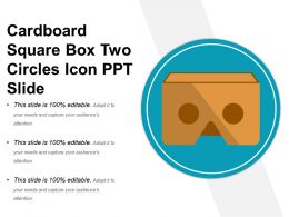 Cardboard Square Box Two Circles Icon Ppt Slide