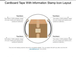 Cardboard Tape With Information Stamp Icon Layout