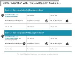 Career Aspiration With Two Development Goals In Performance Plan