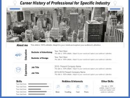 Career History Of Professional For Specific Industry