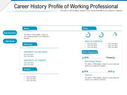 Career History Profile Of Working Professional