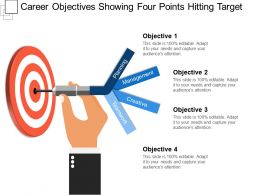 Career Objectives Showing Four Points Hitting Target