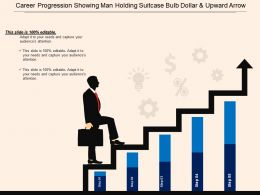 Career Progression Showing Man Holding Suitcase Bulb Dollar And Upward Arrow