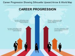Career Progression Showing Silhouette Upward Arrow And World Map