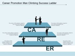 Career Promotion Man Climbing Success Ladder
