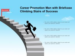 Career Promotion Man With Briefcase Climbing Stairs Of Success