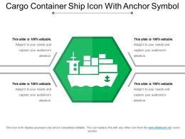 Cargo Container Ship Icon With Anchor Symbol