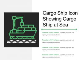 Cargo Ship Icon Showing Cargo Ship At Sea
