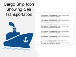 Cargo Ship Icon Showing Sea Transportation