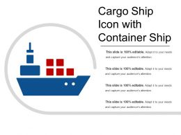 Cargo Ship Icon With Container Ship
