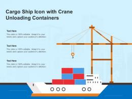 Cargo Ship Icon With Crane Unloading Containers