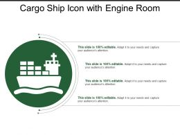 Cargo Ship Icon With Engine Room