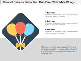 Carnival Balloons Yellow Red Blue Color With White Strings