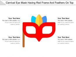 Carnival Eye Mask Having Red Frame And Feathers On Top