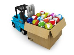 Carton Full With Globe On Truck Stock Photo