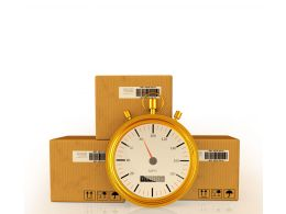 Cartons With Clock Shows Express Delivery Stock Photo