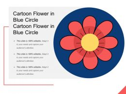 Cartoon Flower In Blue Circle Cartoon Flower In Blue Circle