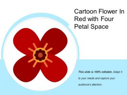 Cartoon Flower In Red With Four Petal Space