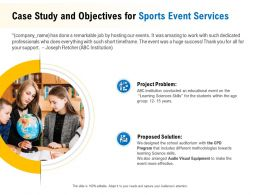 Case Study And Objectives For Sports Event Services Ppt Powerpoint Inspiration