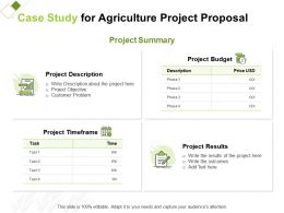Case Study For Agriculture Project Proposal Ppt Powerpoint Presentation Icon Mockup