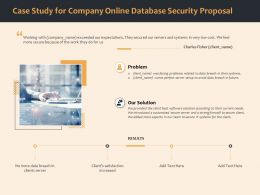 Case Study For Company Online Database Security Proposal Ppt Icon