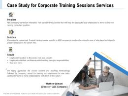 Case Study For Corporate Training Sessions Services Ppt File Example Introduction