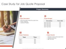 Case Study For Job Quote Proposal Budget Ppt Powerpoint Presentation File Model