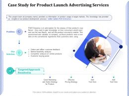 Case Study For Product Launch Advertising Services Ppt Powerpoint Topics