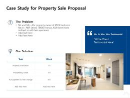 Case Study For Property Sale Proposal Ppt Powerpoint Presentation Gallery Deck
