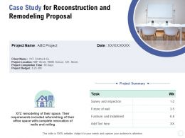 Case Study For Reconstruction And Remodeling Proposal Ppt Powerpoint Presentation Slides Tips