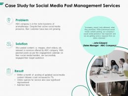 Case Study For Social Media Post Management Services Ppt Powerpoint Presentation Summary