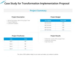 Case Study For Transformation Implementation Proposal Ppt Portfolio Graphic Tips
