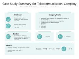 Case Study Summary For Telecommunication Company