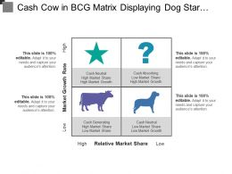 Cash Cow In Bcg Matrix Displaying Dog Star Question And Cow