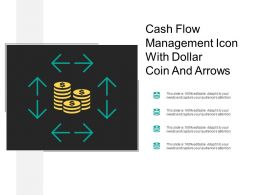Cash Flow Management Icon With Dollar Coin And Arrows