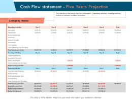 Cash Flow Statement Five Years Projection Ppt Powerpoint Presentation Gallery Model