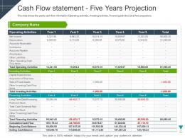 Cash Flow Statement Five Years Projection Raise Funding Short Term Bridge Financing Ppt Slides