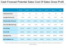 Cash Forecast Potential Sales Cost Of Sales Gross Profit