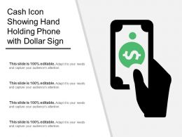 Cash Icon Showing Hand Holding Phone With Dollar Sign