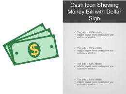 Cash Icon Showing Money Bill With Dollar Sign