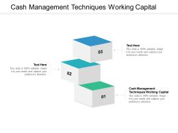 Cash Management Techniques Working Capital Ppt Powerpoint Presentation Pictures Design Inspiration Cpb