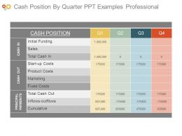 Cash Position By Quarter Ppt Examples Professional